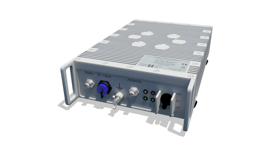 The hub is built to IP67 standards so it can be left in exposed locations and remoted p to 35 metres from the radio. It forms part of the SlingShot Tactical Operations Centre